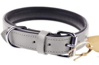 Lederhalsband Hund grau